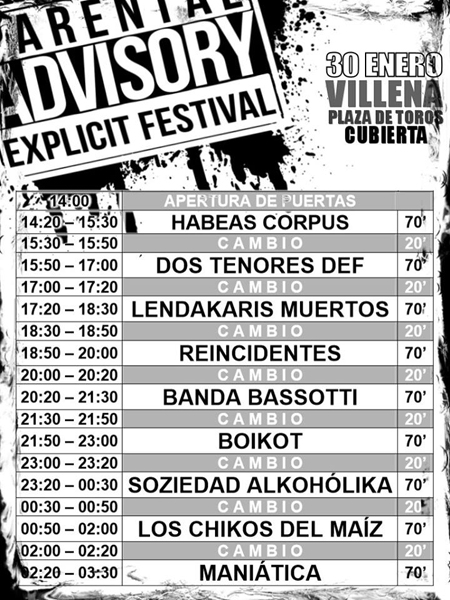 Parental Advisory Fest Horarios